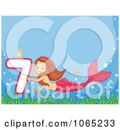 Clipart Mermaid Presenting A Seventh Birthday Candle Royalty Free Vector Illustration by BNP Design Studio