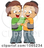 Clipart Muslim Boys Hugging Royalty Free Vector Illustration