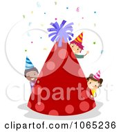 Clipart Birthday Kids With A Giant Party Hat Royalty Free Vector Illustration