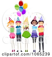 Clipart Children At A Birthday Party Royalty Free Vector Illustration