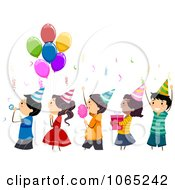 Clipart Line Of Birthday Kids Royalty Free Vector Illustration