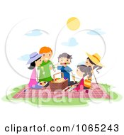 Clipart Stick People Having A Picnic Royalty Free Vector Illustration