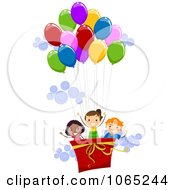 Clipart Kids In A Hot Air Balloon Royalty Free Vector Illustration