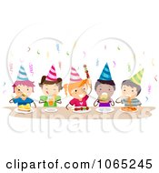 Clipart Birthday Kids Eating Royalty Free Vector Illustration