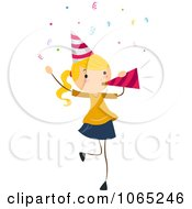 Clipart Birthday Girl Blowing A Party Horn Royalty Free Vector Illustration