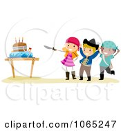 Clipart Pirate Birthday Kids With A Cake And Sword Royalty Free Vector Illustration