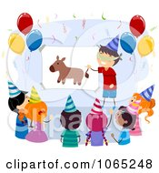 Clipart Birthday Kids Pinning The Tail On The Donkey Royalty Free Vector Illustration