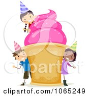 Clipart Birthday Kids With A Giant Ice Cream Cone Royalty Free Vector Illustration