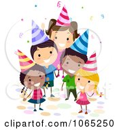 Clipart Birthday Kids Waving Royalty Free Vector Illustration