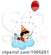 Clipart Stick Birthday Boy On A Cloud With A Balloon Royalty Free Vector Illustration