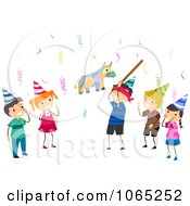 Clipart Birthday Kids Hitting A Pinata Royalty Free Vector Illustration