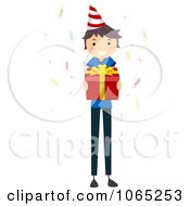 Clipart Stick Birthday Boy Holding A Gift Royalty Free Vector Illustration