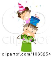 Clipart Little Girl With A Birthday Gift On Her Dads Shoulders Royalty Free Vector Illustration
