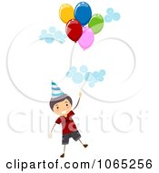 Clipart Stick Birthday Boy Floating With Balloons 1 Royalty Free Vector Illustration