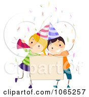 Clipart Birthday Kids With A Sign Royalty Free Vector Illustration