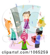 Clipart Girl Arriving At A Surprise Birthday Party Royalty Free Vector Illustration