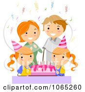 Clipart Parents Celebrating A Twin Girl Birthday Royalty Free Vector Illustration by BNP Design Studio