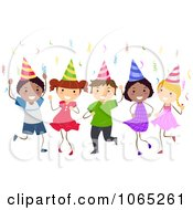 Clipart Birthday Kids Dancing Royalty Free Vector Illustration