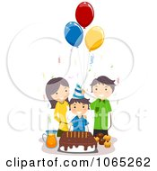 Clipart Boy Celebrating His Birthday With His Parents Royalty Free Vector Illustration