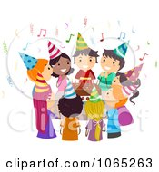 Clipart Kids Singing Happy Birthday Around A Cake Royalty Free Vector Illustration
