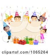 Clipart Birthday Sign With Kids And Gifts Royalty Free Vector Illustration
