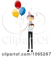 Clipart Stick Birthday Boy With A Cake And Balloons Royalty Free Vector Illustration