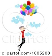 Clipart Stick Birthday Boy Floating With Balloons 2 Royalty Free Vector Illustration