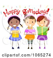 Clipart Happy Birthday Girls Holding Cake And Presents Royalty Free Vector Illustration by BNP Design Studio