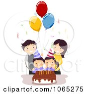 Clipart Twins Celebrating Their Birthday With Their Parents Royalty Free Vector Illustration
