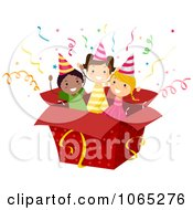 Clipart Birthday Kids In A Box Royalty Free Vector Illustration by BNP Design Studio