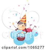 Clipart Birthday Girl On Cloud With Confetti Royalty Free Vector Illustration