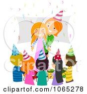 Clipart Mother Surprising Her Birthday Girl Royalty Free Vector Illustration