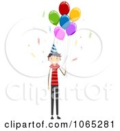 Clipart Stick Birthday Boy With Party Balloons Royalty Free Vector Illustration