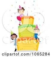 Clipart Birthday Girl On A Giant Cake Royalty Free Vector Illustration by BNP Design Studio