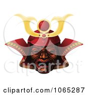Clipart 3d Red Samurai Mask Royalty Free Vector Illustration by AtStockIllustration