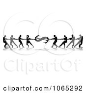 Clipart Silhouetted Dollar Tug Of War Business Teams Royalty Free Vector Illustration