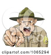 Clipart Drill Sargent Spitting As He Shouts Royalty Free Vector Illustration