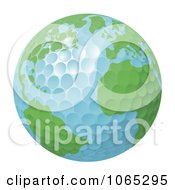 Clipart 3d Golf Ball Globe Royalty Free Vector Illustration