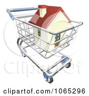 Clipart 3d House In A Shopping Cart Royalty Free Vector Illustration