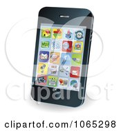 Clipart 3d Smart Phone With App Icons Royalty Free Vector Illustration