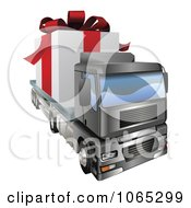 Clipart 3d Giant Gift On A Big Rig Royalty Free Vector Illustration by AtStockIllustration