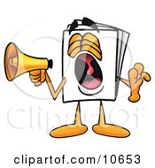 Clipart Picture Of A Paper Mascot Cartoon Character Screaming Into A Megaphone
