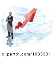 Clipart 3d Businessman Over A Red Arrow Chart Royalty Free Vector Illustration