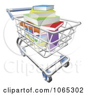 Clipart Shopping Cart Of Colorful 3d Books Royalty Free Vector Illustration