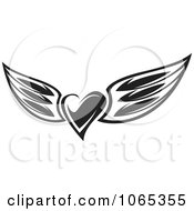 Clipart Black And White Heart Wings 3 Royalty Free Vector Illustration