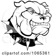 Clipart Outlined Grinning Bulldog Logo Royalty Free Vector Illustration by Vector Tradition SM