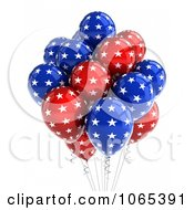 Clipart 3d Fourth Of July Helium Party Balloons 3 Royalty Free CGI Illustration by stockillustrations