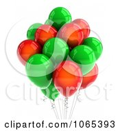 Clipart 3d Red And Green Helium Party Balloons Royalty Free CGI Illustration by stockillustrations