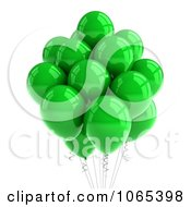 Clipart 3d Green Helium Party Balloons Royalty Free CGI Illustration