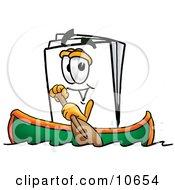 Paper Mascot Cartoon Character Rowing A Boat